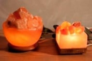 Лампа - квадратна купа с въглени на дървена основа