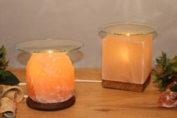 Cube aromatherapy Himalayan salt lamp on wooden base