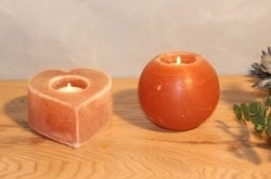 Oval-shaped Himalayan salt candle holder