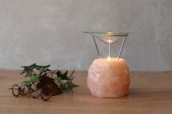Свещник за ароматерапия - овален от Хималайска сол