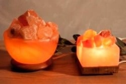 Lamp - square bowl with coals on wooden base